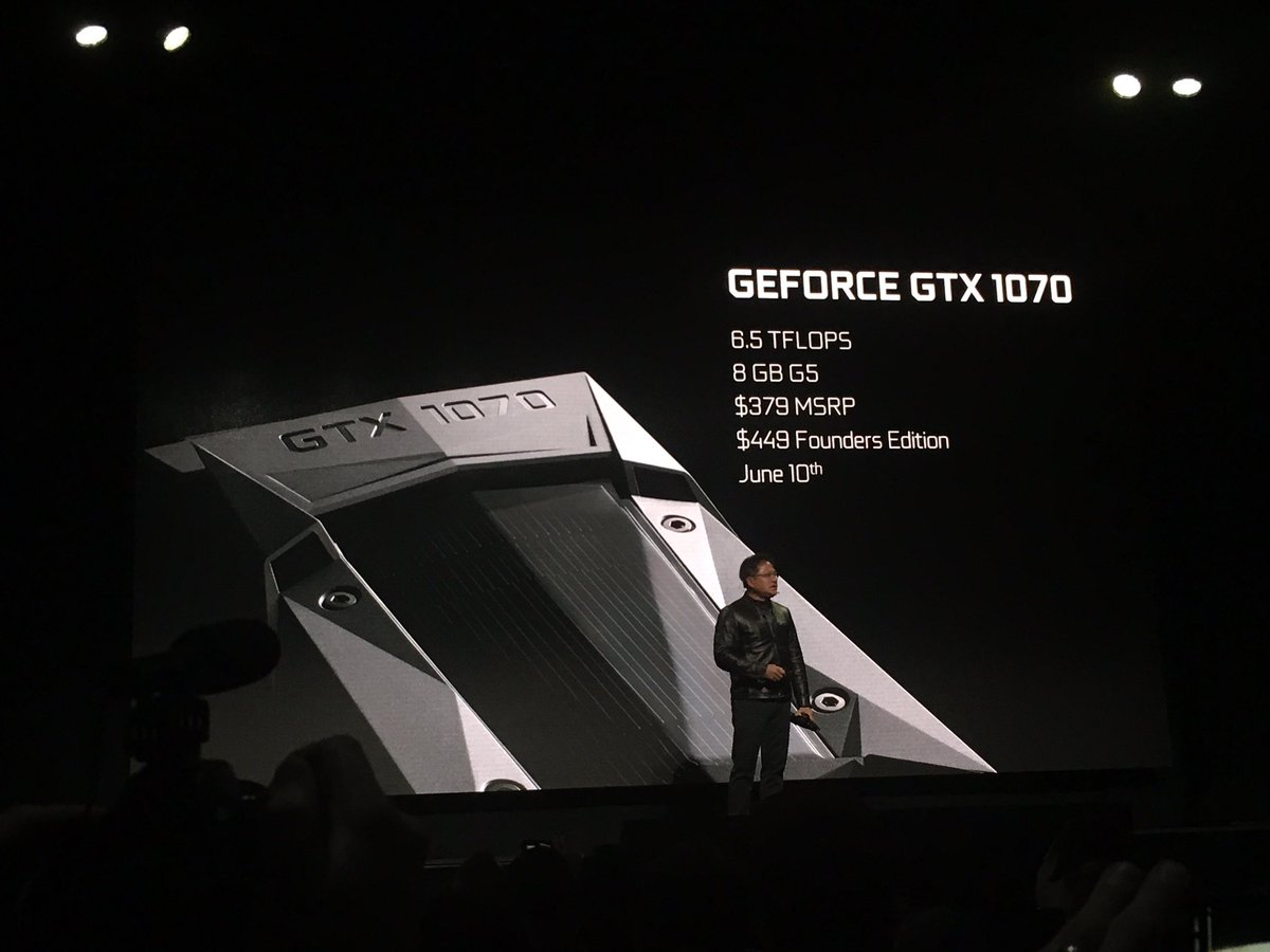 WTF! @nvidia GeForce GTX 1070 announced... Faster than Titan X for $379! My body can't handle this much excitement!