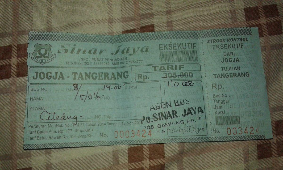 Di Iklan In On Twitter Sy Pnya 1 Tiket Bus Sinar Jaya Jurusan