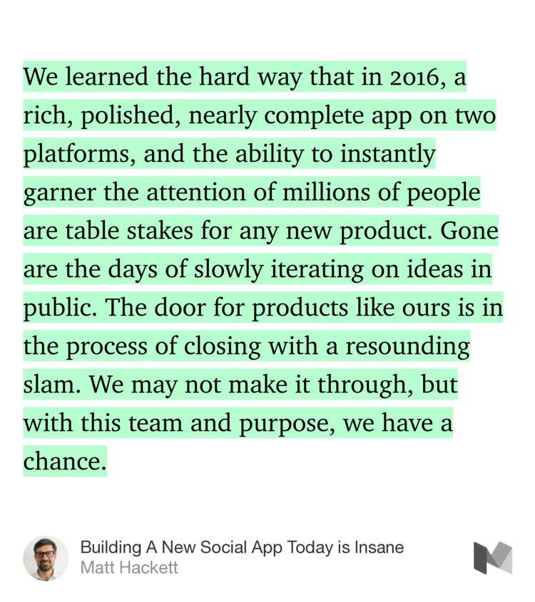 """""""Building A New Social App Today is Insane"""" by @mhkt https://t.co/IdEcyxUEL5 https://t.co/RJSf8eJ6JW"""