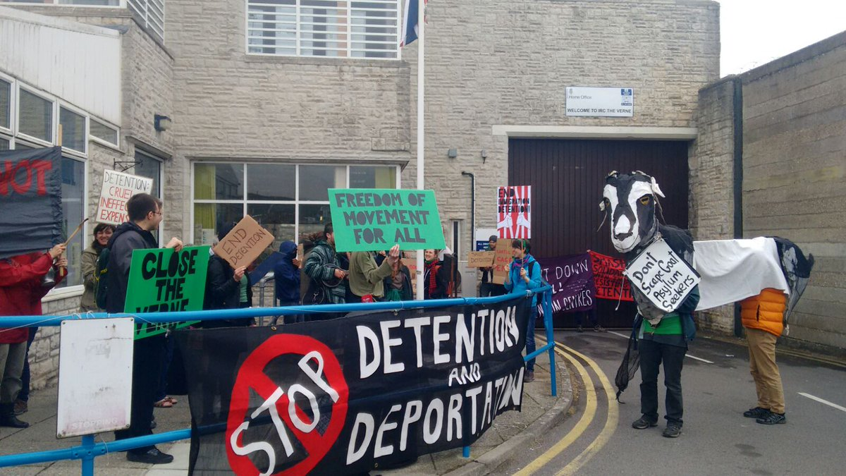 Dignity Scapegoat outside the Verne Detention Centre transnat  #EndDetentionNow day of action #7May #CloseTheVerne https://t.co/eOUjGlR9lP