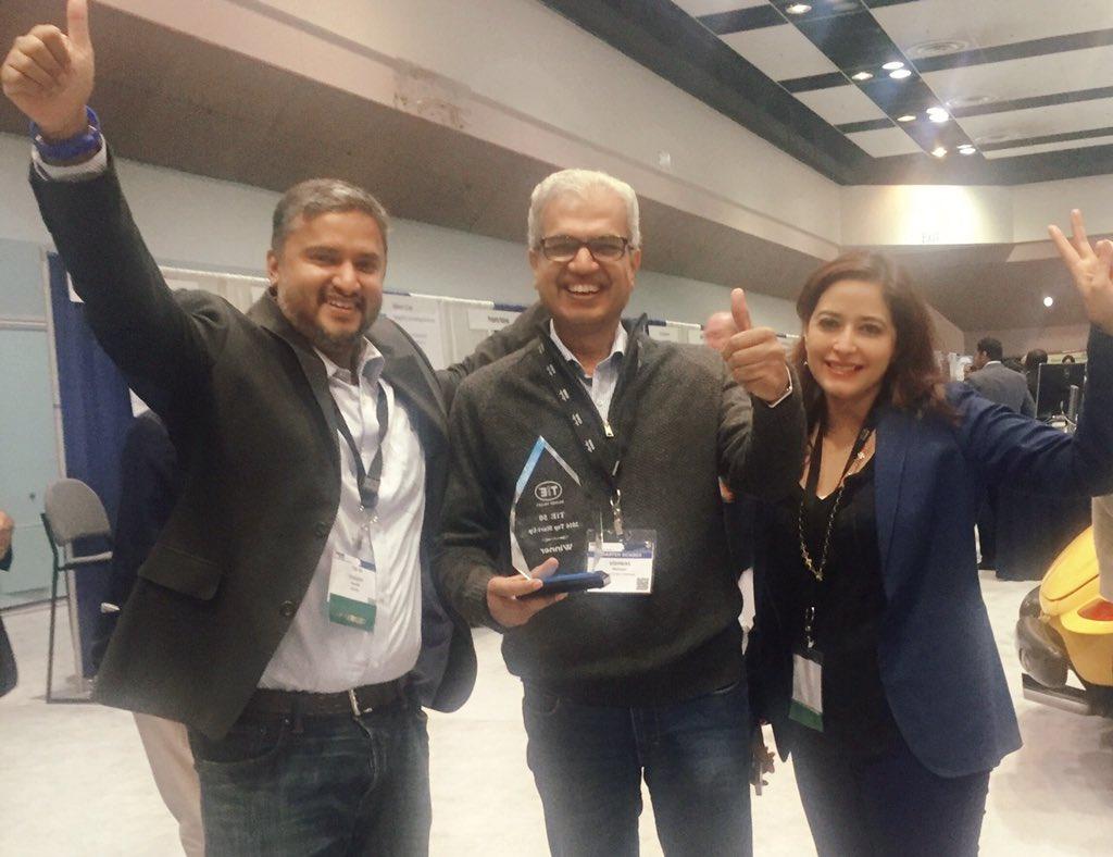 @Hexanika wins #tie50 Top Start-Up Award @yogpandit @HumaU with @Vishmah at #tiecon2016 #fintech https://t.co/ut4k0NMtzi