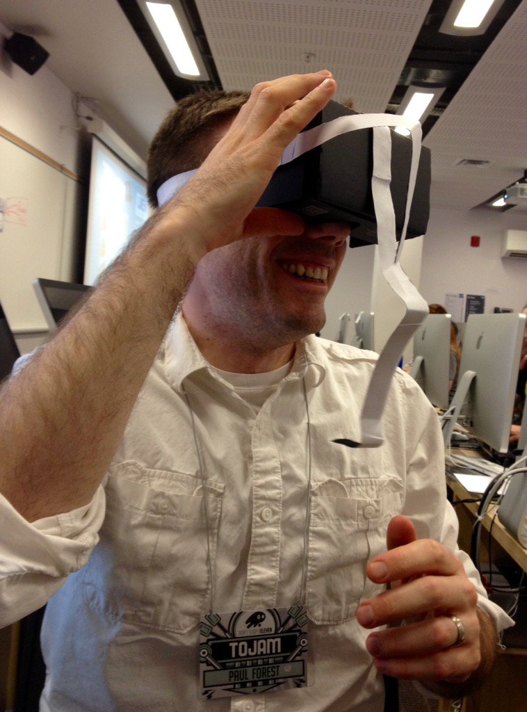 @ForestGames is testing our VR Google Cardboard hands-free headset prototype! #TOJam #ClusterFlock https://t.co/3V9yP3ffGr