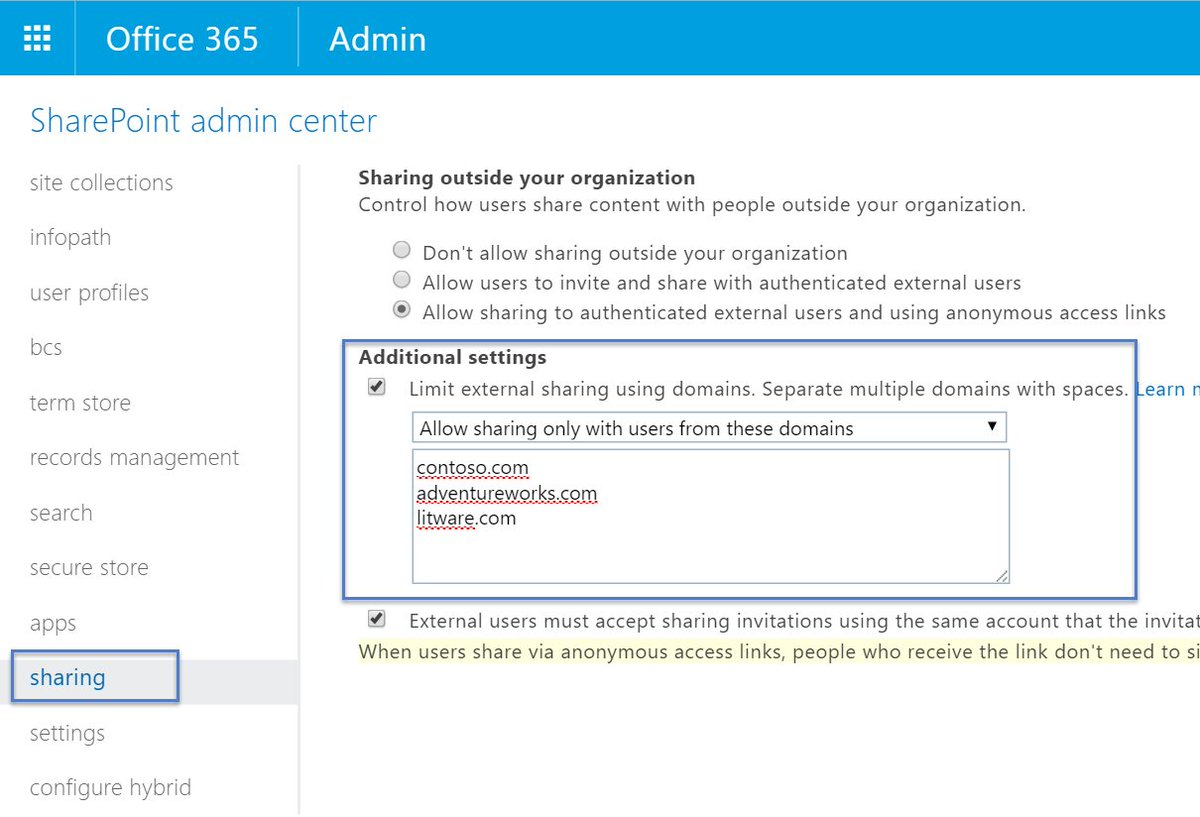 Did you know that you can now easily black- and whitelist domains for external sharing in @Office365 #Office365 https://t.co/JhNDvxYg54