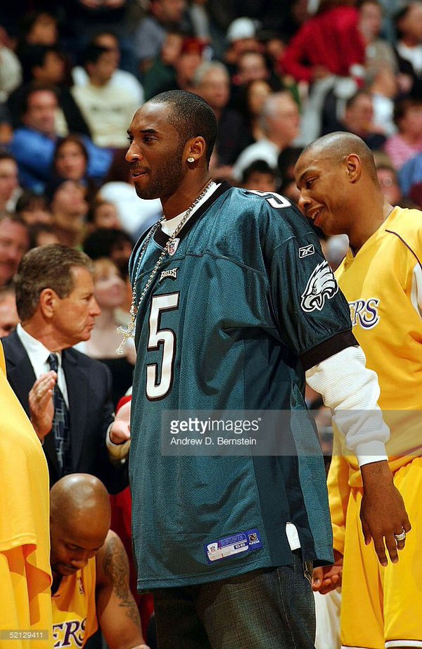 24e94277160 ... Never miss a Moment Celeb Jersey Cards 77 Will Smith and Kobe Bryant  Kobe Bryant on the Philadelphia Eagles Kobe Bryant of the Los Angeles Lakers  wears ...