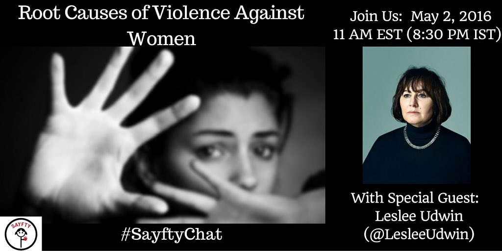Peabody award winner @lesleeudwin on #sayftychat to discuss root causes of #VAW. Join us Mon 11am EST @PBS @NewsHour https://t.co/C5cIXE8Bnt