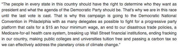 Bernie statement admits he's no longer in this to get the nomination. https://t.co/LeOToTxsfp