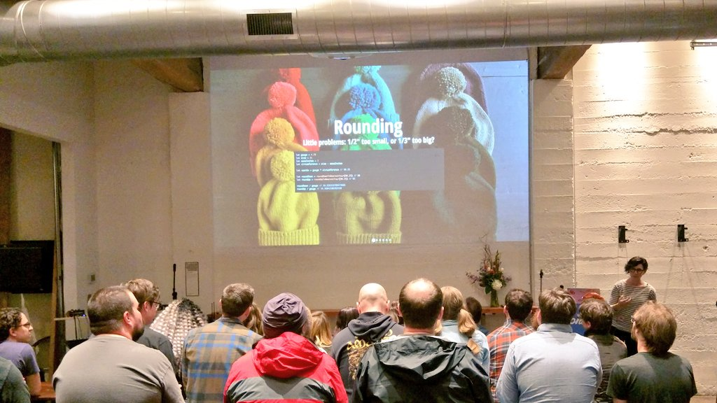 Awesome @donutjs_pdx talk by @feministy about generating knitting patterns in Javascript!