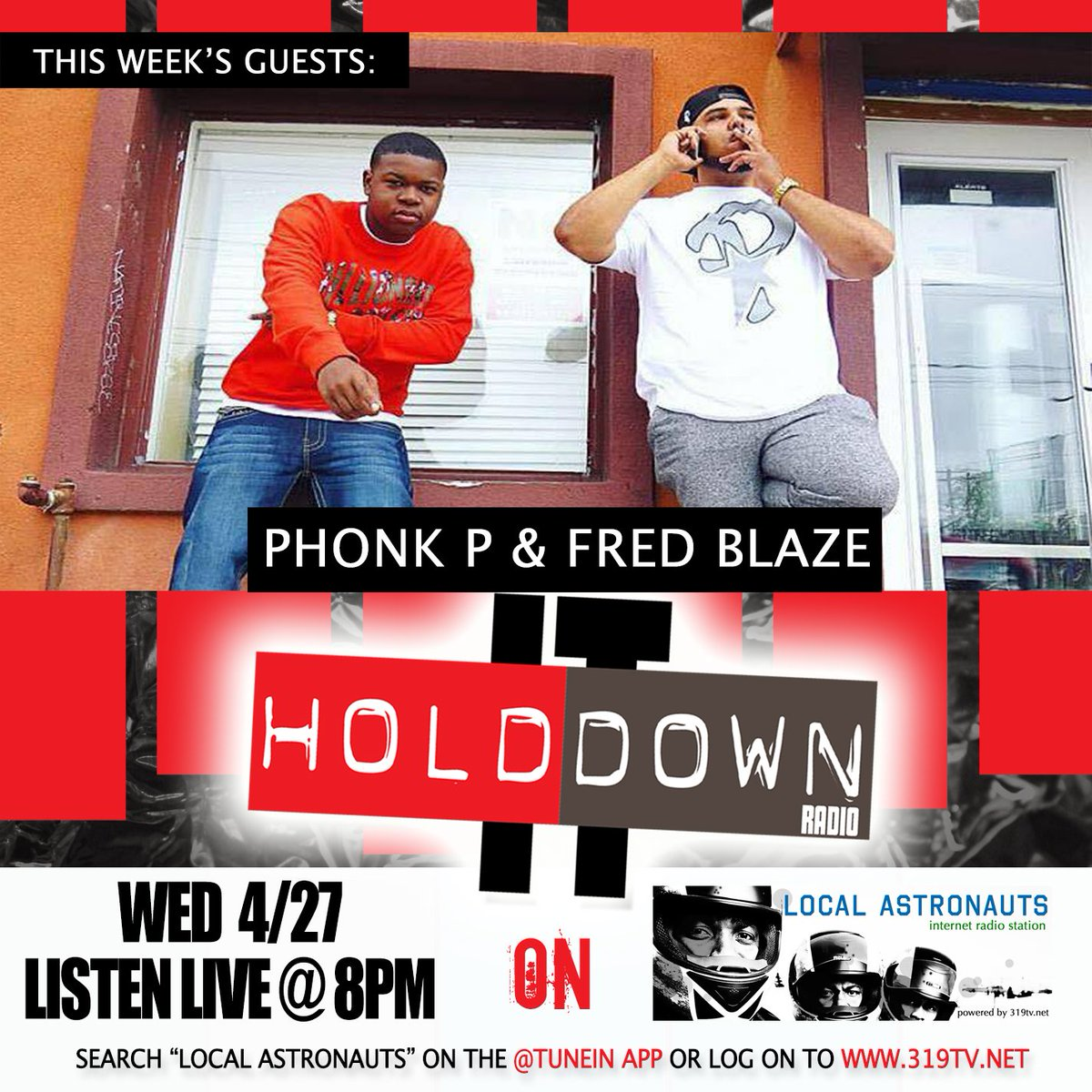 This Wed Check out @HolditDownRadio on @LocalAstronauts w/ guests @phonkp @_fredblaze https://t.co/IG1pvCvW9S https://t.co/JTsRr3u5Kj