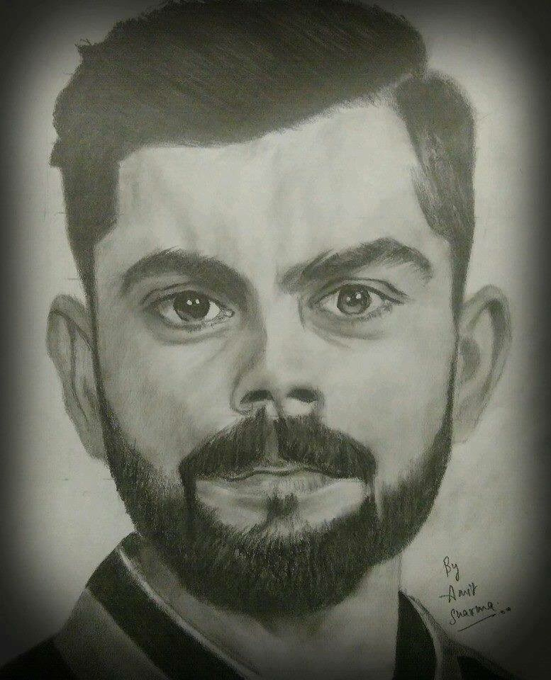 Virat Kohli Pencil Sketch Step By Step