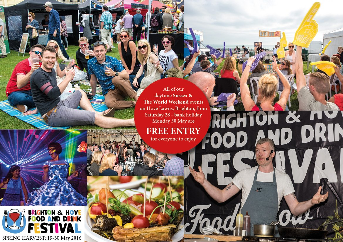 All of our outdoor  food & drink events on #Brighton seafront #Hove Lawns Sat 28 - bank hol Mon 30 May r FREE ENTRY https://t.co/NEO7X4gWFo