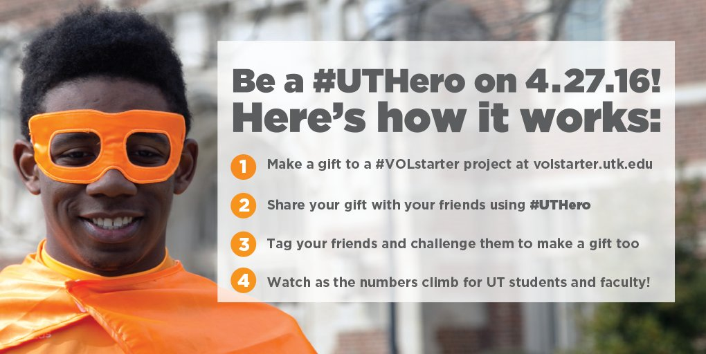 Ever wanted to be a #superhero? Today's your lucky day! #UTHero #VOLstarter. https://t.co/H4TNRmhQwW