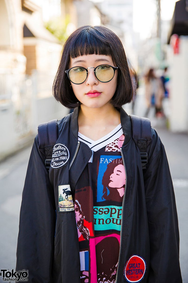 62dc829a4b0d6f 15 year old harajuku girl in glasses w oversized bomber graphic dress amp  converse