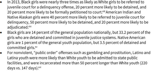 Girls of color disproportionately experience highr levls of detention in juvenile justice system #StandAgainstRacism https://t.co/rzdzPsDks4