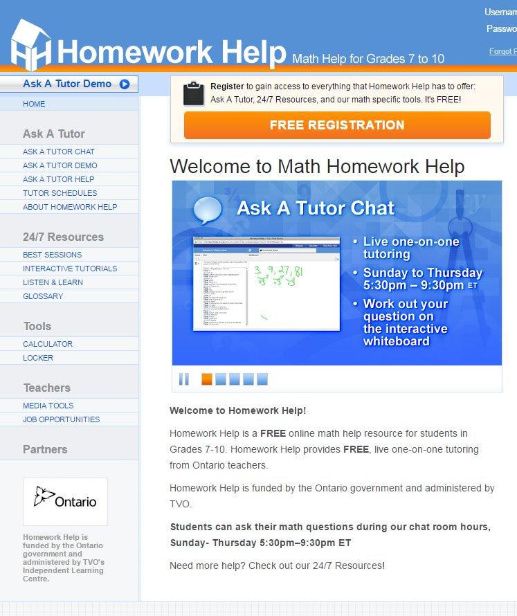 free online math homework help chat