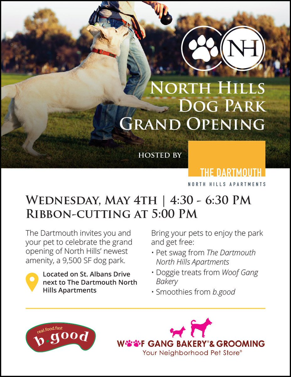 Don't miss our Dog Park Grand Opening on 5/4! Enjoy treats from @thedartmouthnh, @WoofGangBakery & @bgoodraleigh_nc! https://t.co/okAN43NDdj