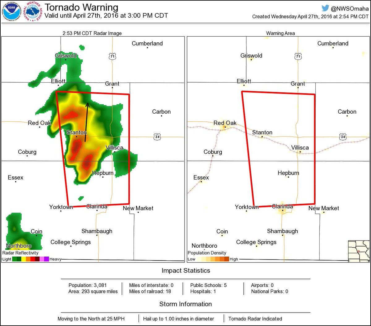 Nws Omaha On Twitter Tornado Warning Including Villisca Ia