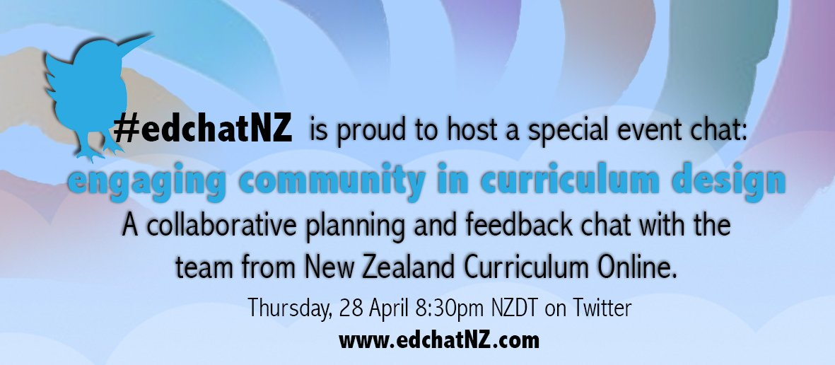 If you are interested in engaging your community in Curriculum Design then -  join us for #edchatNZ tonight https://t.co/mRIzxV0cYW
