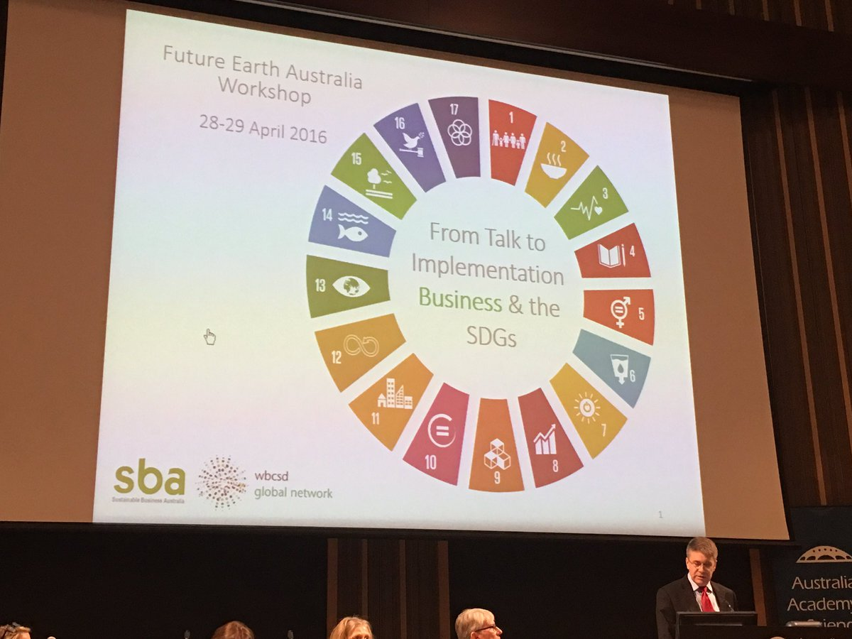 Andrew Peterson CEO sustainable Business Australia 'from talk to implementation' #FutureEarthOz https://t.co/vNZSHWmC84
