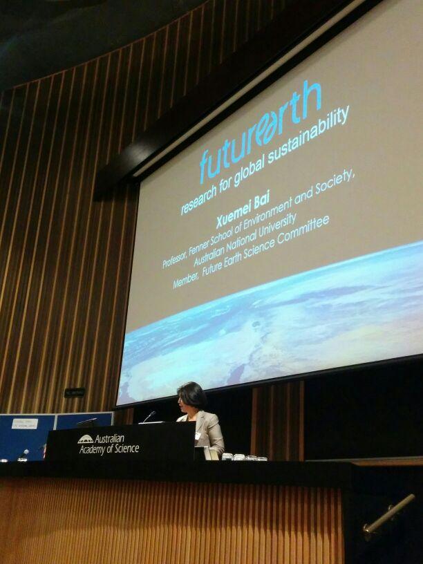 Prof @xuemeibai_aus introduces the global @futureearth framework #FutureEarthOz https://t.co/3nBNeEL0Cs