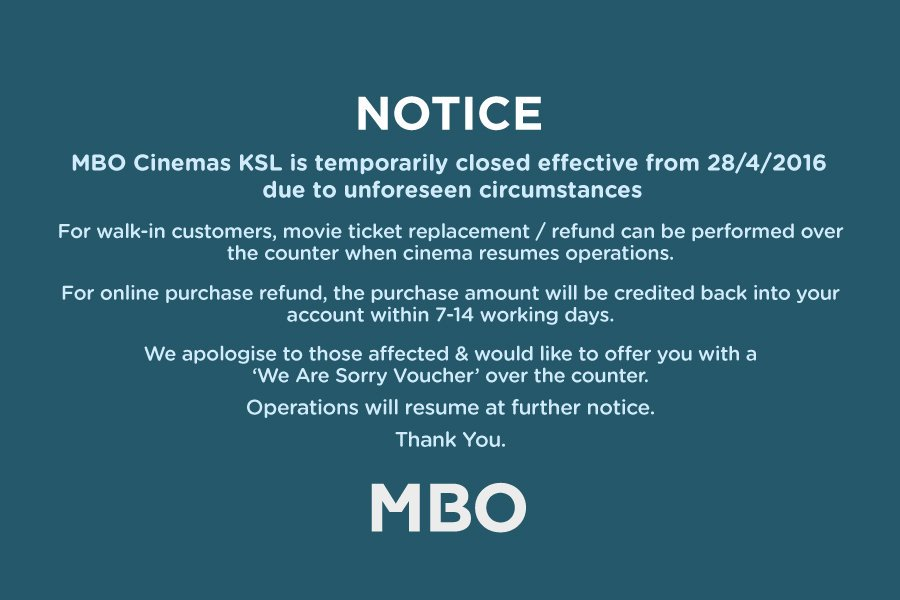 Mbo Cinemas On Twitter Dear All Kindly Take Note Of This Notice