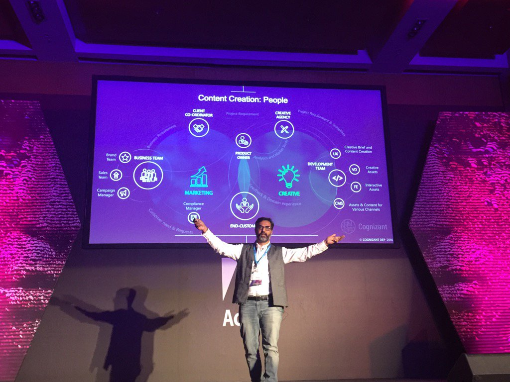 Suhas Bendre from @Cognizant talking about the marriage of Marketing & Creative that is Content #AdobeSymp #Wish https://t.co/2eqdVJLjCz