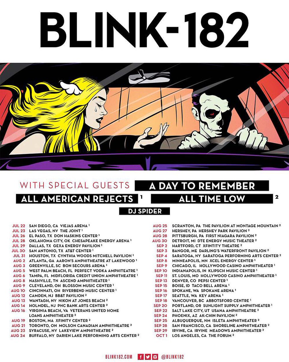 It's been hard to not say anything but the wait is over....WE'RE TOURING WITH WITH BLINK 182! Can't wait. https://t.co/jSetpu9Ili