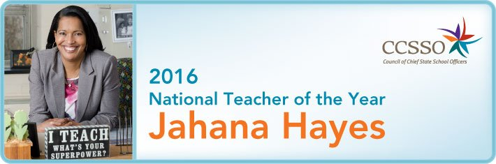Congratulations @JahanaHayes on being named National Teacher of the Year #NTOY16! @EducateCT https://t.co/b5YVYkkQPE