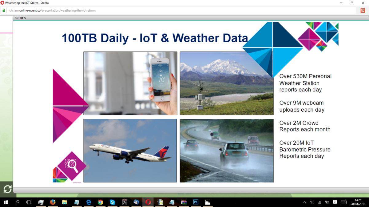 100TB Daily - #IoT & Weather Data @theweathercompany #IoTSlam #InternetofThings https://t.co/SHZEq7EiCj