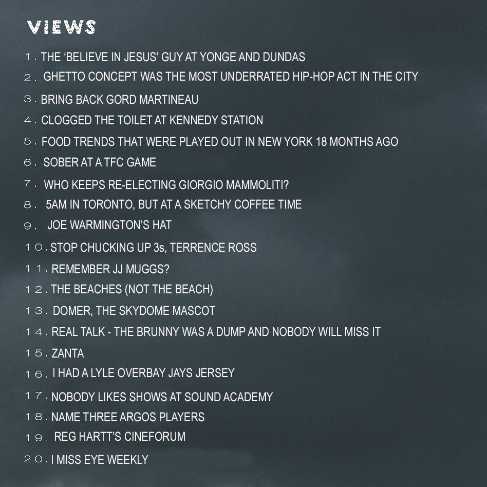 Damn, @Drake went a little inside baseball with some of these #VIEWS track names. #TOpoli