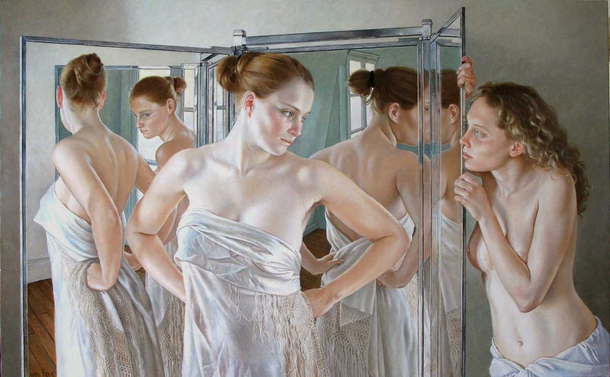 """Women Artists🎨 در توییتر """"French painter Francine van Hove (Paris 1942)  'The mirrors' series with women, some questioning looks Oil on canvas… """""""