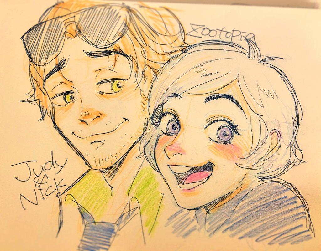 tweet : 【ズートピア】お似合いカップル「ニック×ジュディ」の擬人化