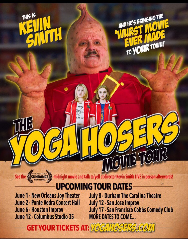 "See @YogaHosers in theaters 7/29! Or come see it WITH me and ask ""WHY DID YOU DO THIS?!?"" on the #YogaHosers Tour! https://t.co/CWE48Z66AG"