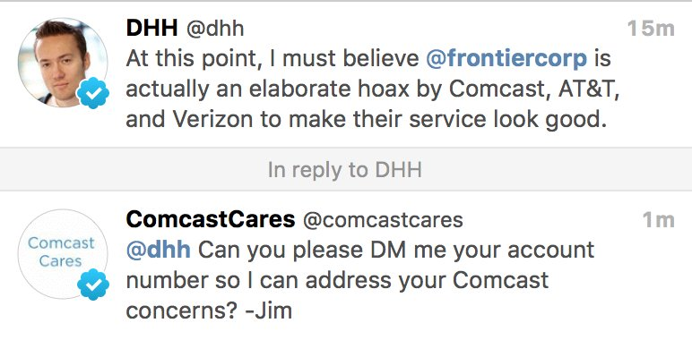 Heh. @ComcastCares skims @dhh tweet, misses the point completely. https://t.co/nNCoa8QEKW