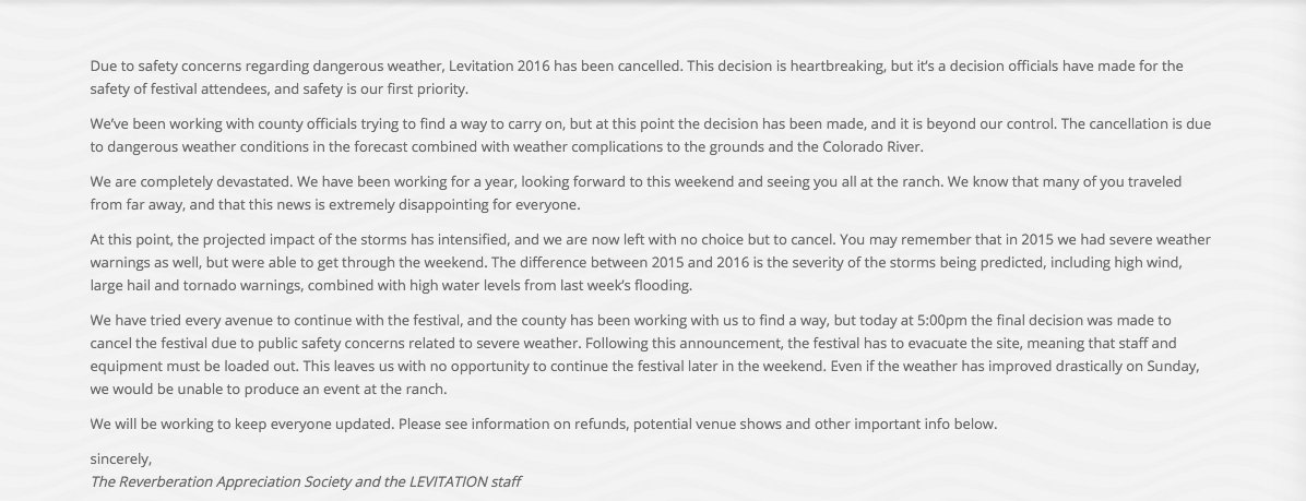 If you cannot read the cancellation message on the @LEVITATION website due to high traffic volume... here it is. #fb https://t.co/dvxoDWThzv