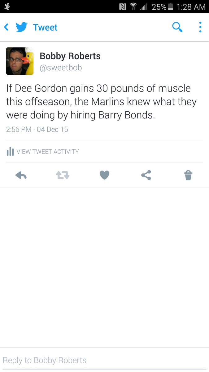 Thanks to @jmthevandyfan for pointing out a tweet I made in December about Dee Gordon/Barry Bonds https://t.co/6TjaQ27JmB