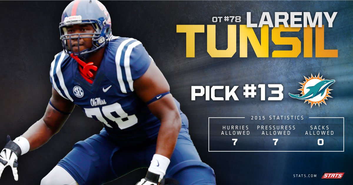 The fall has stopped for #LaremyTunsil - The #MiamiDolphins select him with the 13th pick in the #NFLDraft #FinsUp https://t.co/jZdmmr0lUK