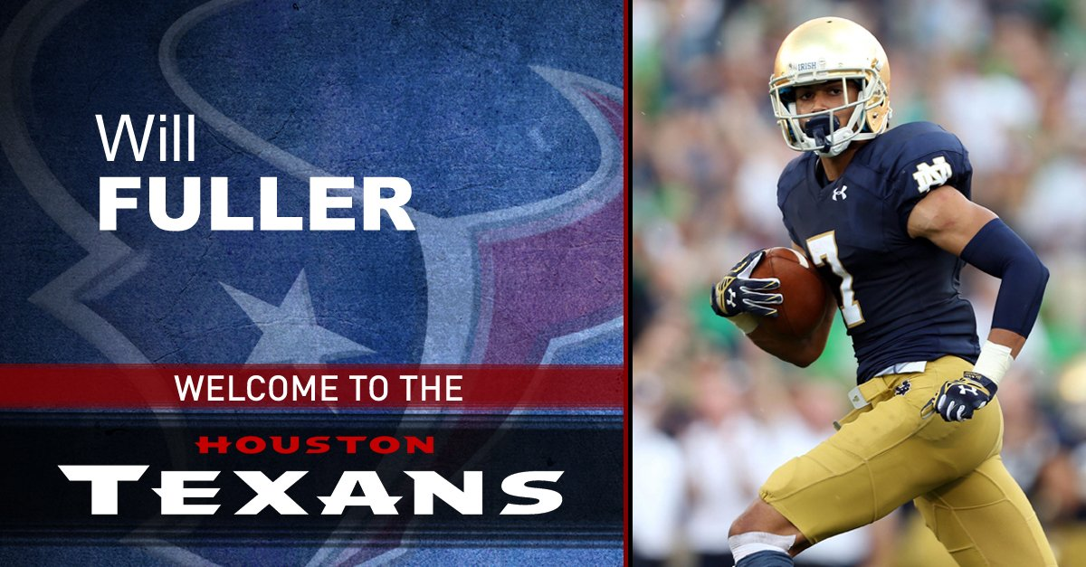 WELCOME TO HOUSTON: @HoustonTexans select Notre Dame WR Will Fuller with the 21st pick
