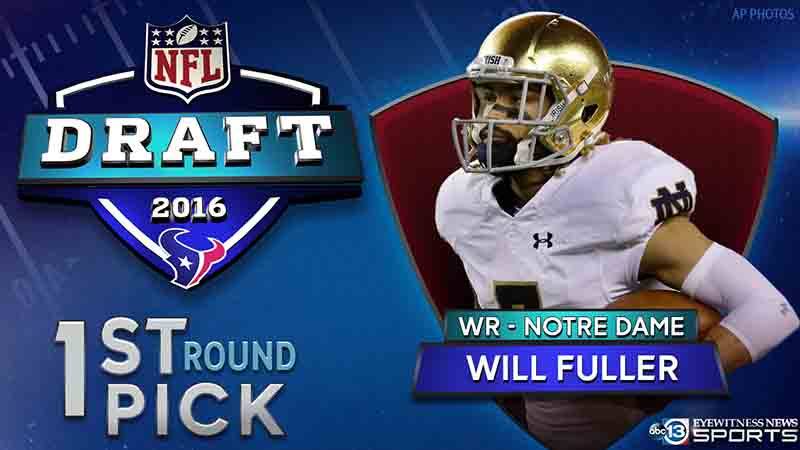 The @HoustonTexans have selected Notre Dame WR Will Fuller! NFLDraft