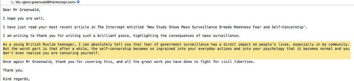 Email from UK Muslim teenager about new study on surveillance harms (https://t.co/UFVdrRjAgX): a common sentiment