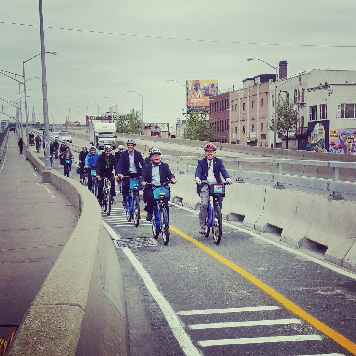 Open for Bicyclists!  Celebrating the opening ride over the new #PulaskiBridge Bike Way! https://t.co/MkyJ7Q3Ozo