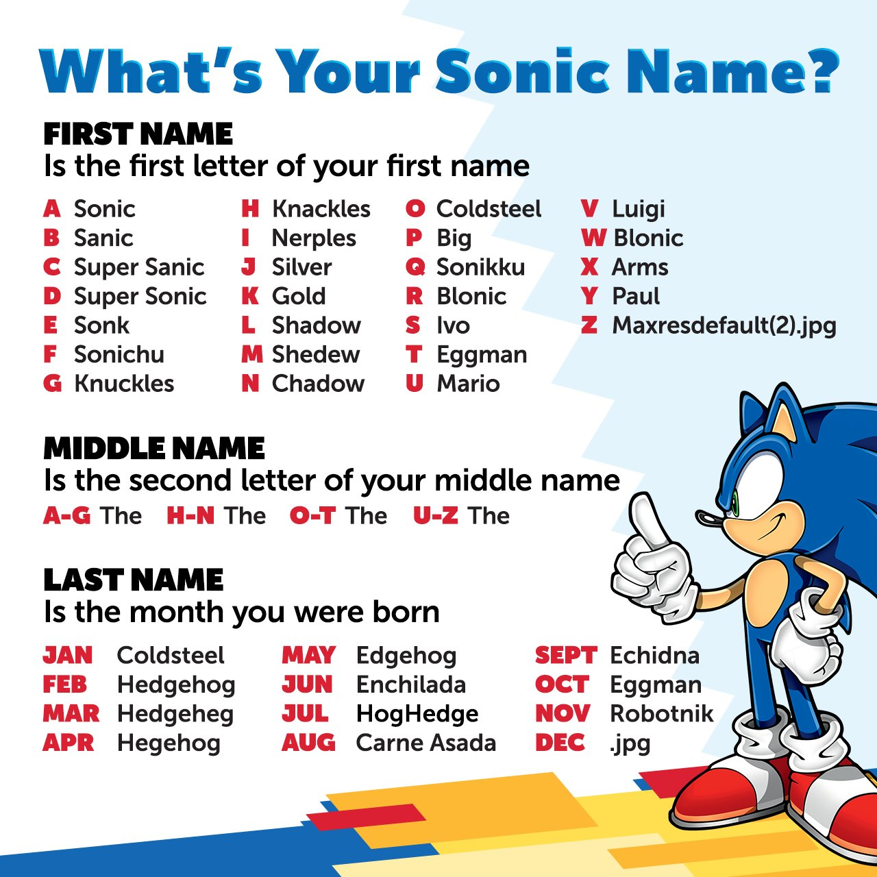Sonic The Hedgehog On Twitter Alone On A Friday Then Be Rad And Tell Us Your Sonic Name