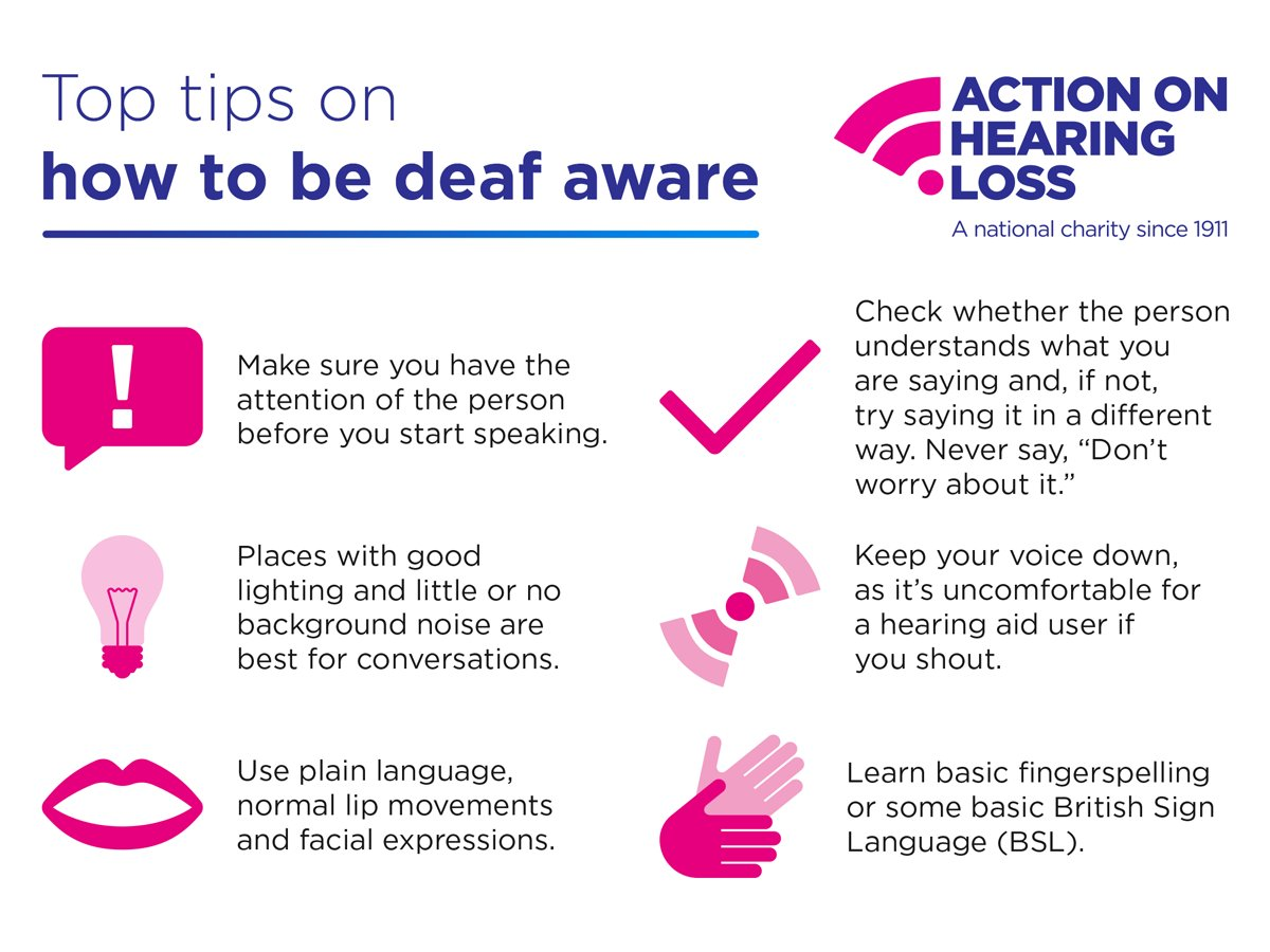 Are you deaf aware? RT our top tips to raise deaf awareness among your friends and followers #DeafAwarenessWeek https://t.co/0zQEgjJNJQ