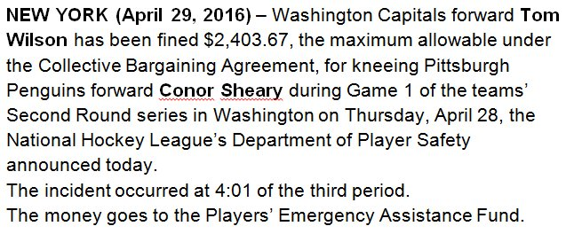 Caps F Tom Wilson fined $2,403.67 for kneeing Penguins forward Conor Sheary during Game 1 CapsPens
