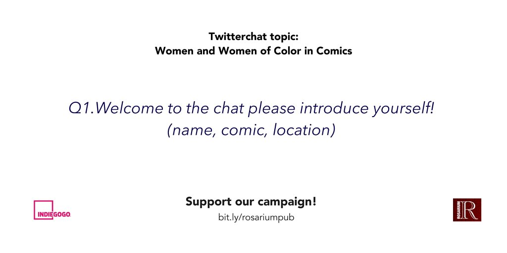Q1. Tonight we're talking to our women #comic creators. Welcome please introduce yourselves! #rosariumpub https://t.co/fJFpeP4fKx