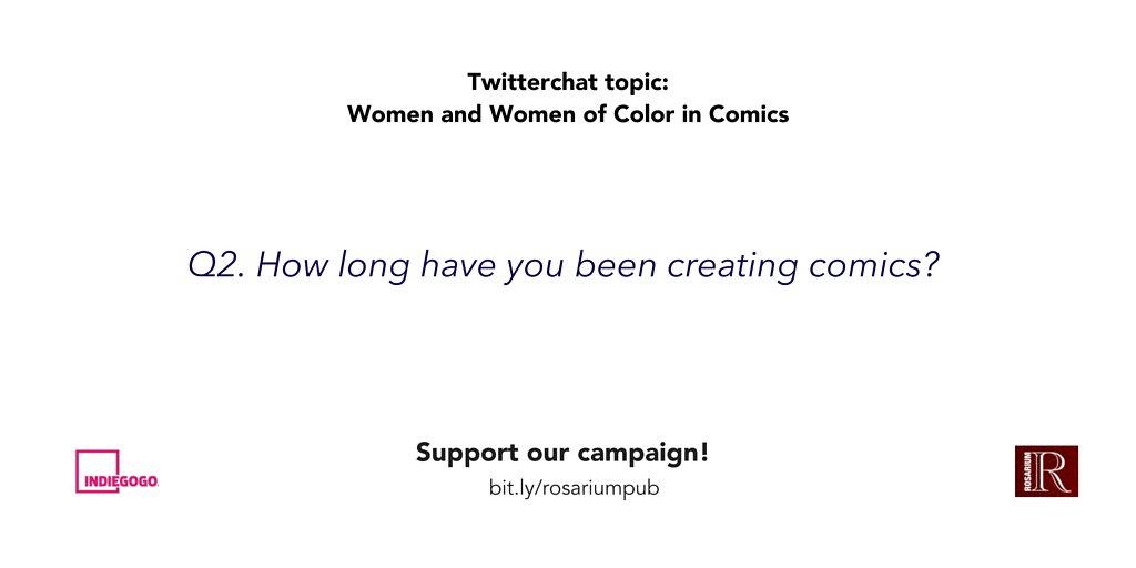 Q2. How long have you been creating comics? #womenincomics #rosariumpub https://t.co/iTgId8JcTr