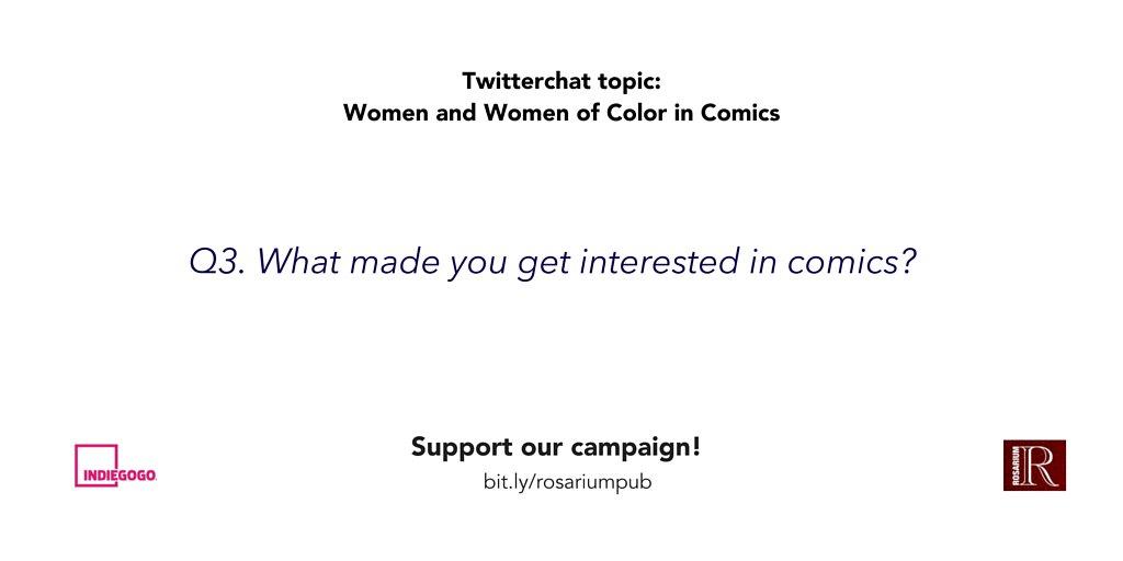 Q3: What sparked your interest in comics? #womenincomics #rosariumpub https://t.co/vjtvpUMDmW