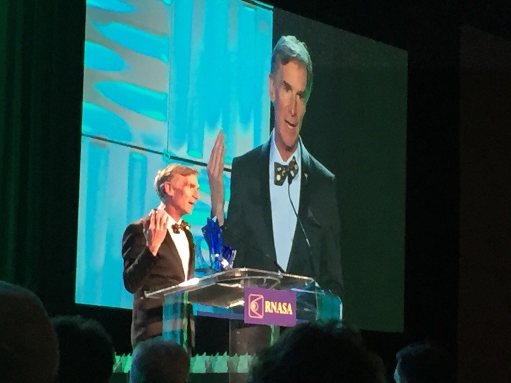 """""""Just trying to change the world!"""" Bill Nye accepts the @RNASAFoundation Space Communicator award tonight."""
