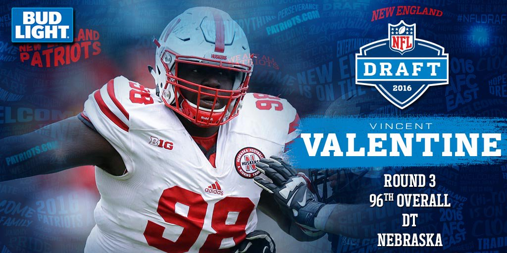 #Patriots 3rd Third Round Pick Of The Night (96th Overall): Vincent  Valentine, DT, Nebraska.pic.twitter.com/sg7jhpHvof