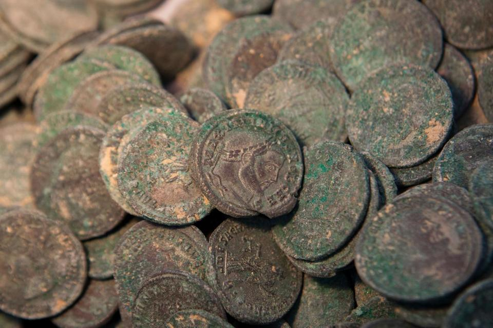 Construction workers in Spain unearth trove of ancient Roman coins