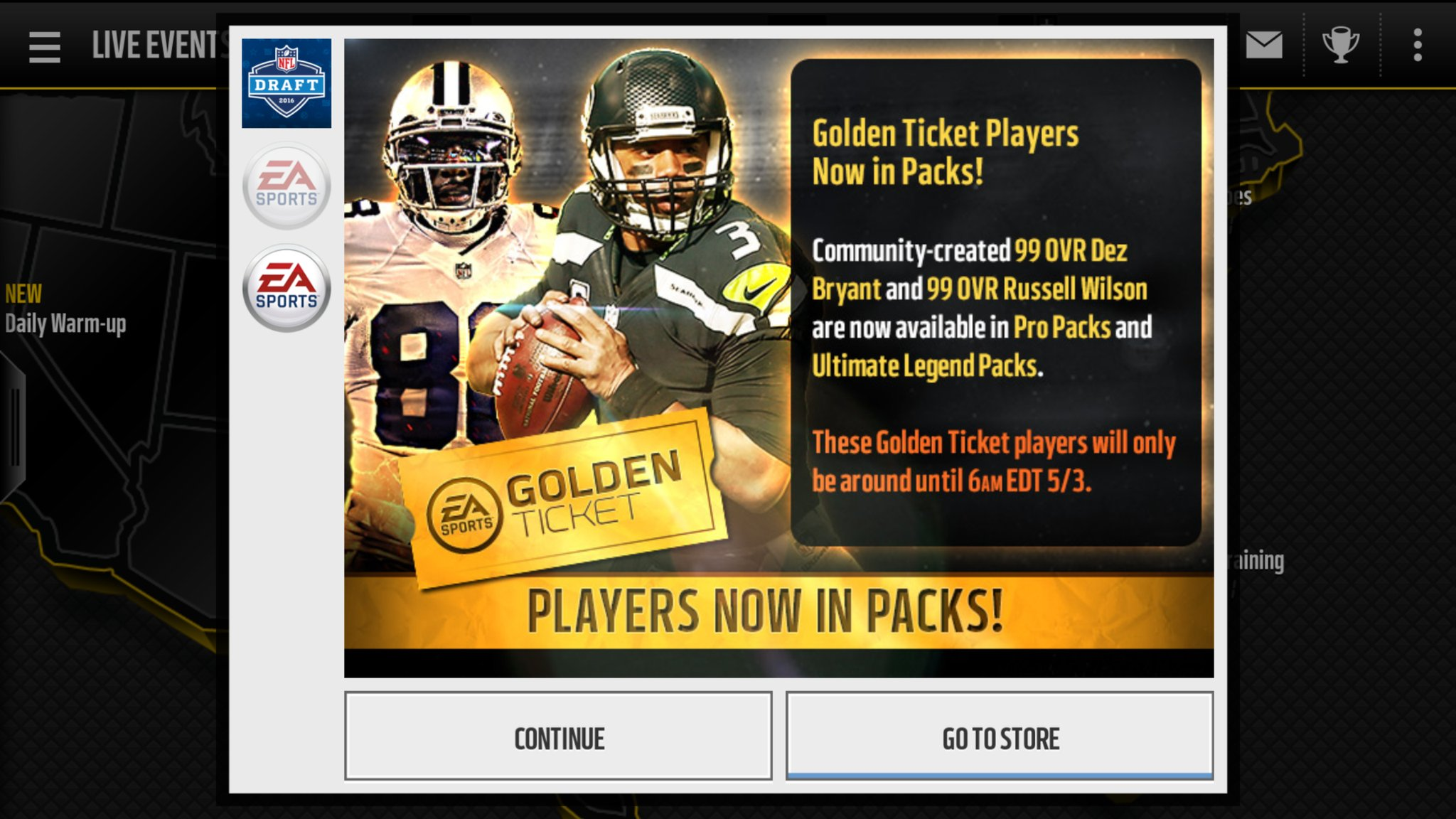 Golden Ticket Dez Bryant And Russell Wilson Today S Gt In